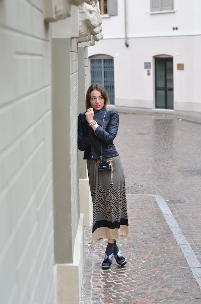 Giacca Di Pelle Con Abito Lungo Melissa Cabrini